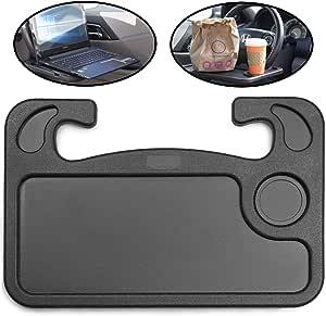 lebogner Auto Steering Wheel Desk, Laptop, Tablet, iPad Or Notebook Car Travel Table, Food Eating Hook On Steering Wheel Tray, for Constant Travelers, Fits Most Vehicles Steering Wheels