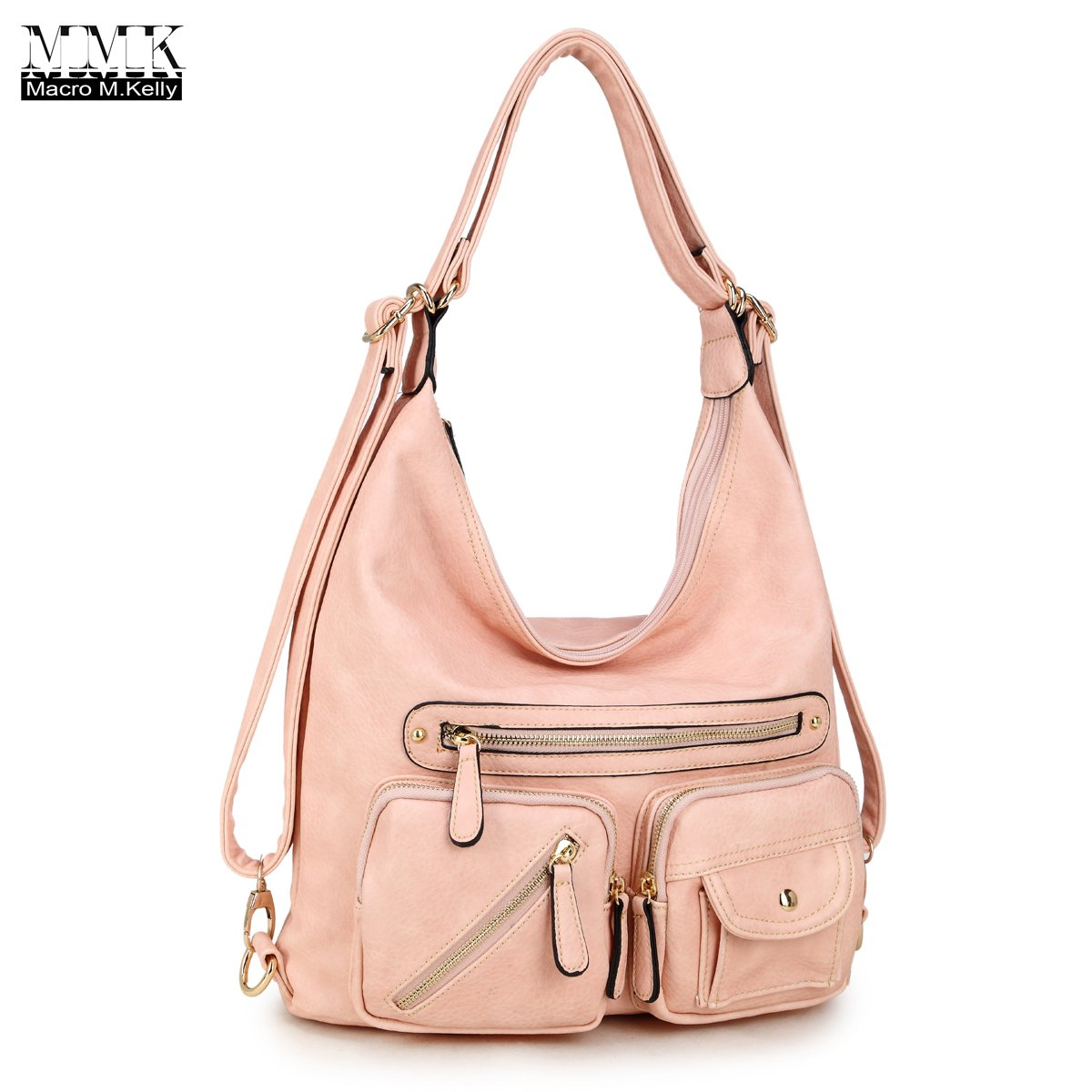 MMK collection Women Fashion Shoulder Backpack (6331)~Designer Purse Hobo bag for Women ~Multi Pocket Backpack~ Beautiful Designer Shoulder bag (MA-09-6331-PINK) by Marco M. Kelly
