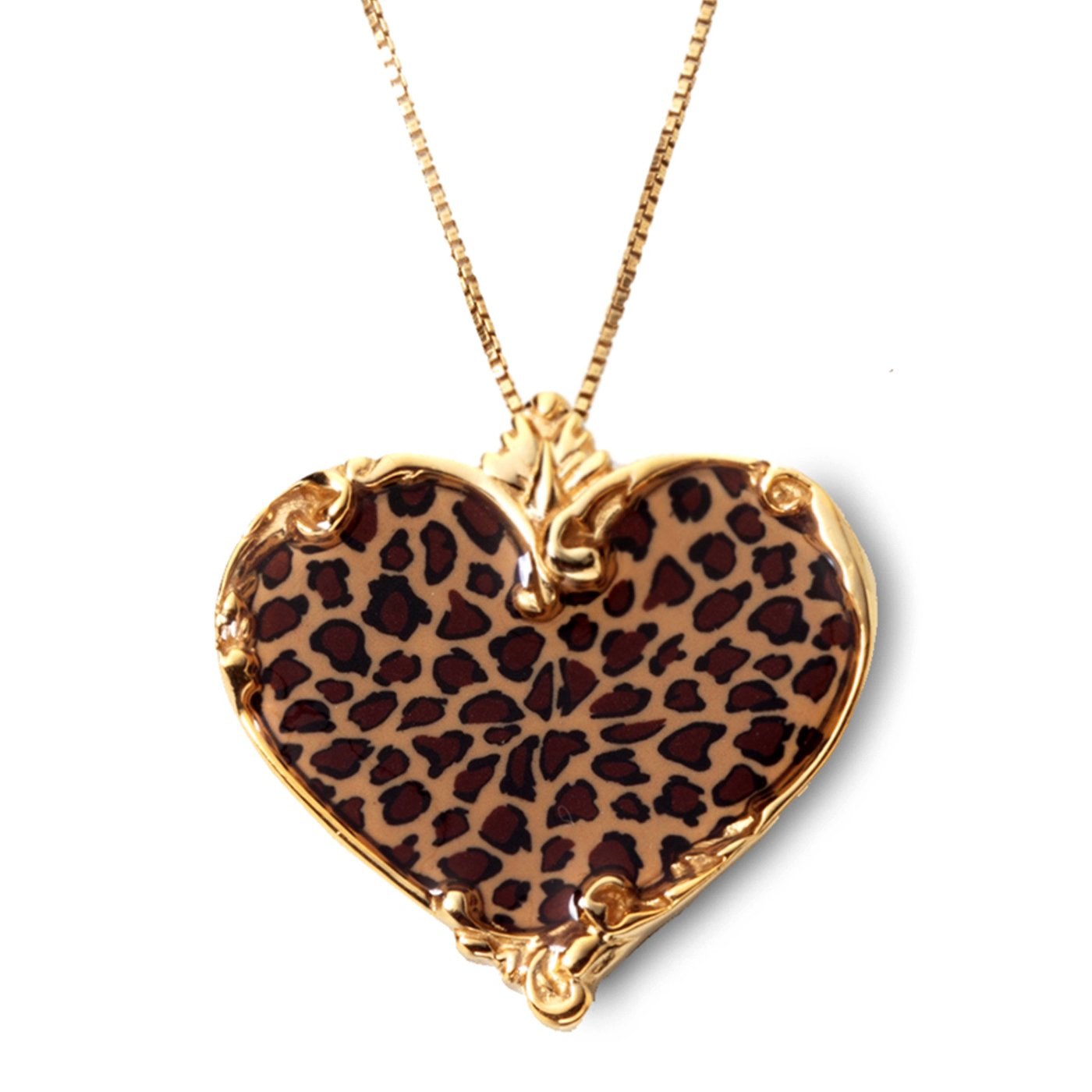 Gold Plated Sterling Silver Heart Necklace Pendant Handmade Leopard Print Polymer Clay Jewelry, 16.5'' Gold Filled Chain