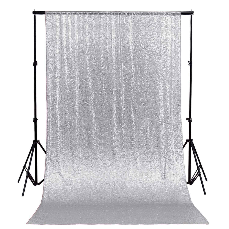 ShinyBeauty Glitter Backdrop 10FTx10FT Silver Sparkle Photo Back Drop Sequin Curtain Backdrop~190515E