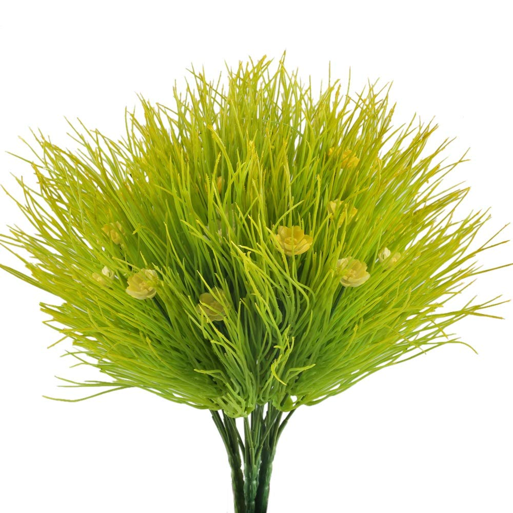 Nahuaa Fake Plants, 4PCS Artificial Flowers Faux Shrubs Plastic Wheat Grass Bushes Bundles Table Centerpieces Arrangements Home Kitchen Office Windowsill Spring Decorations