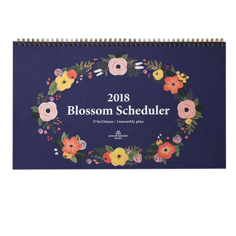 """'Blossom Scheduler' 2018 Planner Calendar Desk Calendar Wire Bound Monthly Planner Desk Pad Calendar Organizer Calendar Schedule Agenda, 14 Months, 14.7""""x8.9"""" (Navy)"""