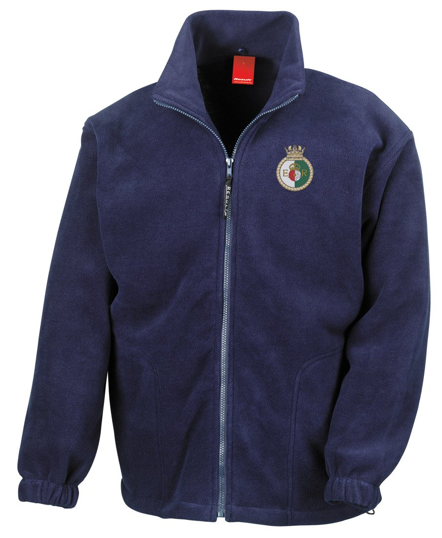 Military Online HMS Gloucester Embroidered Logo Official Royal Navy Full Zip Heavyweight Fleece Jacket