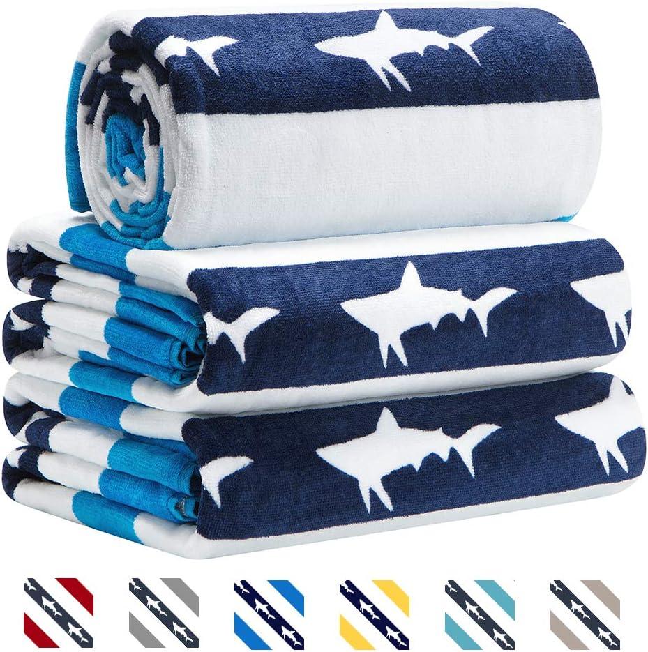 CABANANA Large Oversized Beach Towel - Velour Cotton Print 35 x 70 Inch Navy Blue Striped Sand Free Pool Towel, Big Summer Mens Swim Cabana Towel