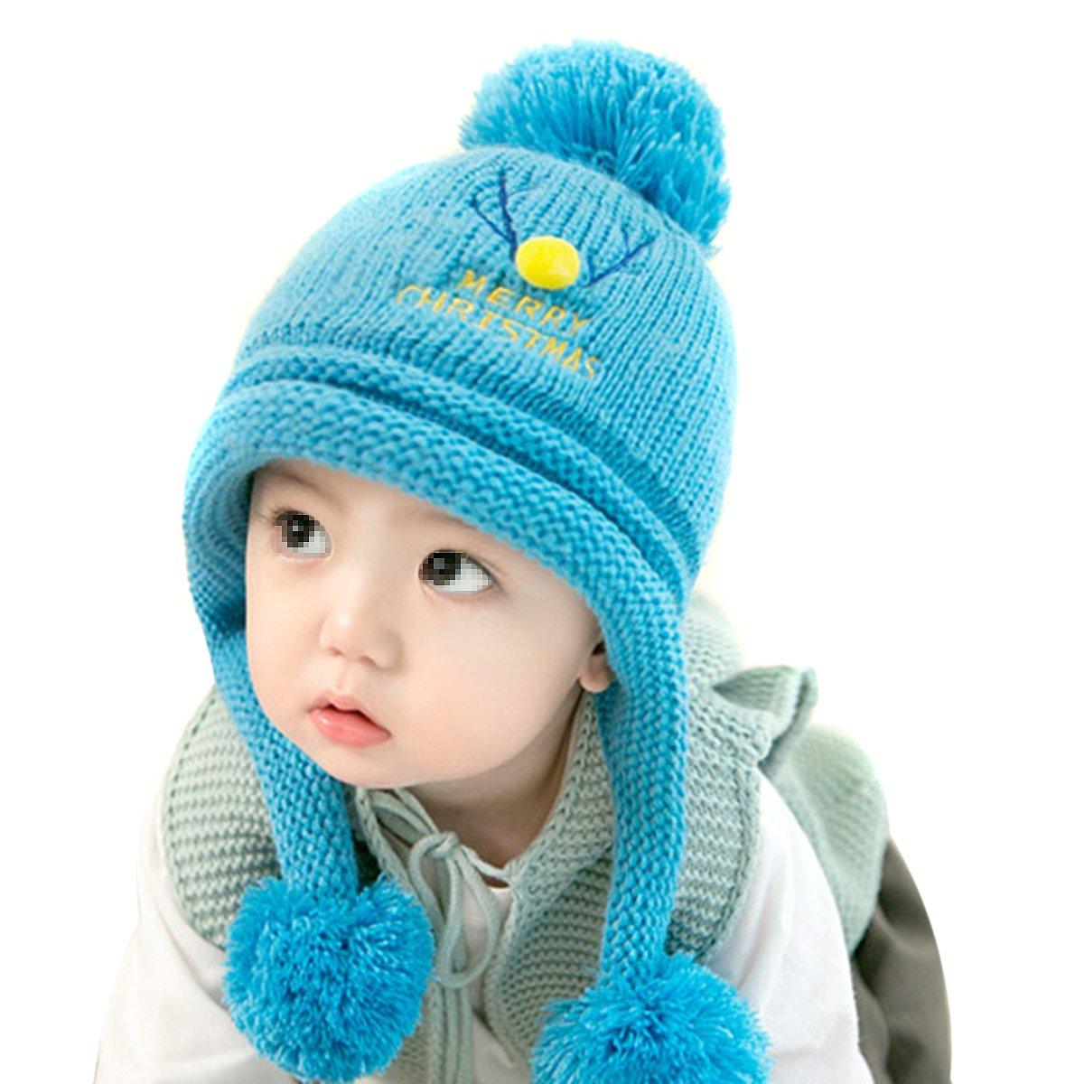 Hüte, Mützen & Caps Bekleidung Butterme Baby Kind warme Winter gestrickte Hüte Dickes Woolen Earflap Hauben Hut mit bequemen Zwischenlage Weihnachtshüten Rot