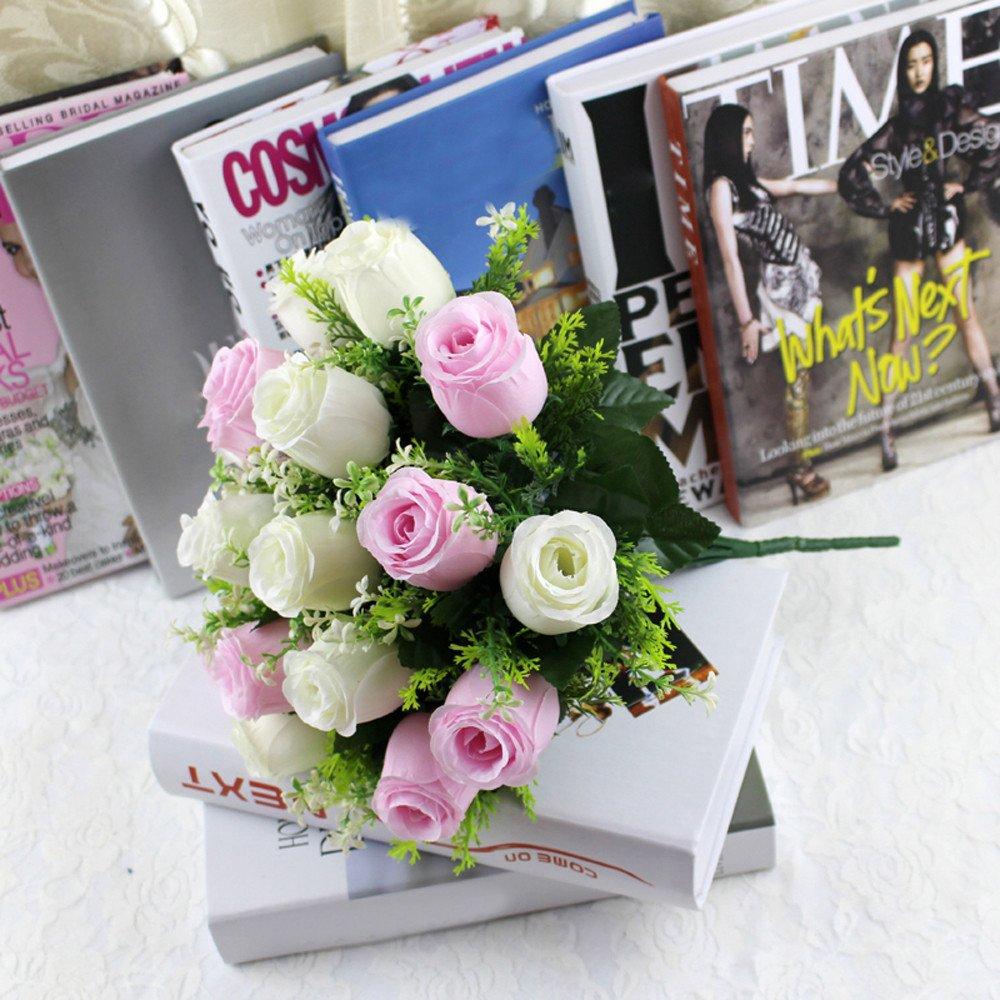 E Sunenjoy 18 Capitules T/êtes Artificiel Soyeux Rose Fleur Bouquet Bouquet /À manger Table Artisanat Faux Flores Pour Accueil Table D/écor Salon Mariage Cimeti/ère F/ête des m/ères No/ël Cadeau