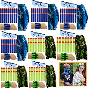 Wishery Compatible with Nerf Party supplies, Nerf Guns N - Strike Elite. 8 Kids - Nerf War Birthday Party Favors for Boys & Girls, Darts, Safety Glasses, masks, Wristbands Pack for 2 teams.