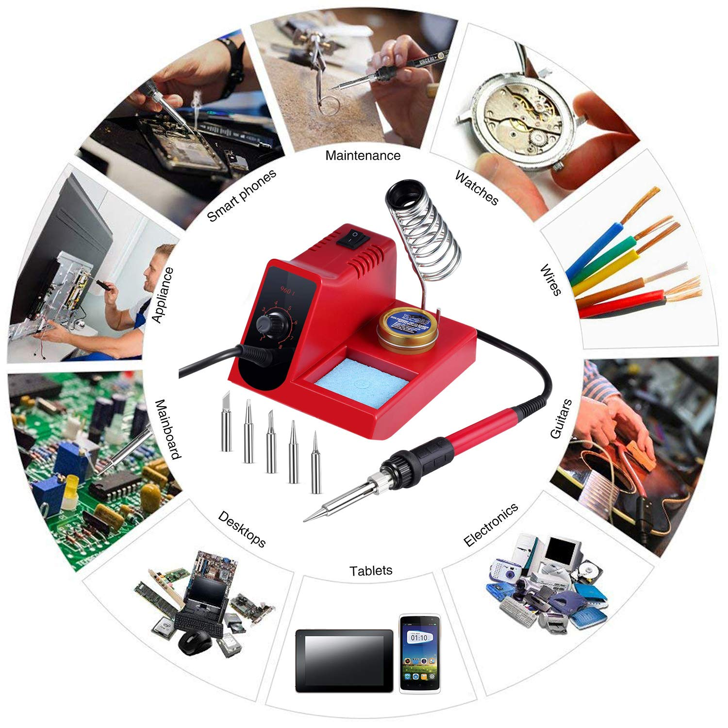 60W Soldering Iron Station, 8 Level Adjust Temperature Control, Ergonomic Soldering Iron, Solder Holder, 5 pcs Different Tips and Brass Tip Cleaner (960D) by TFLY (Image #6)