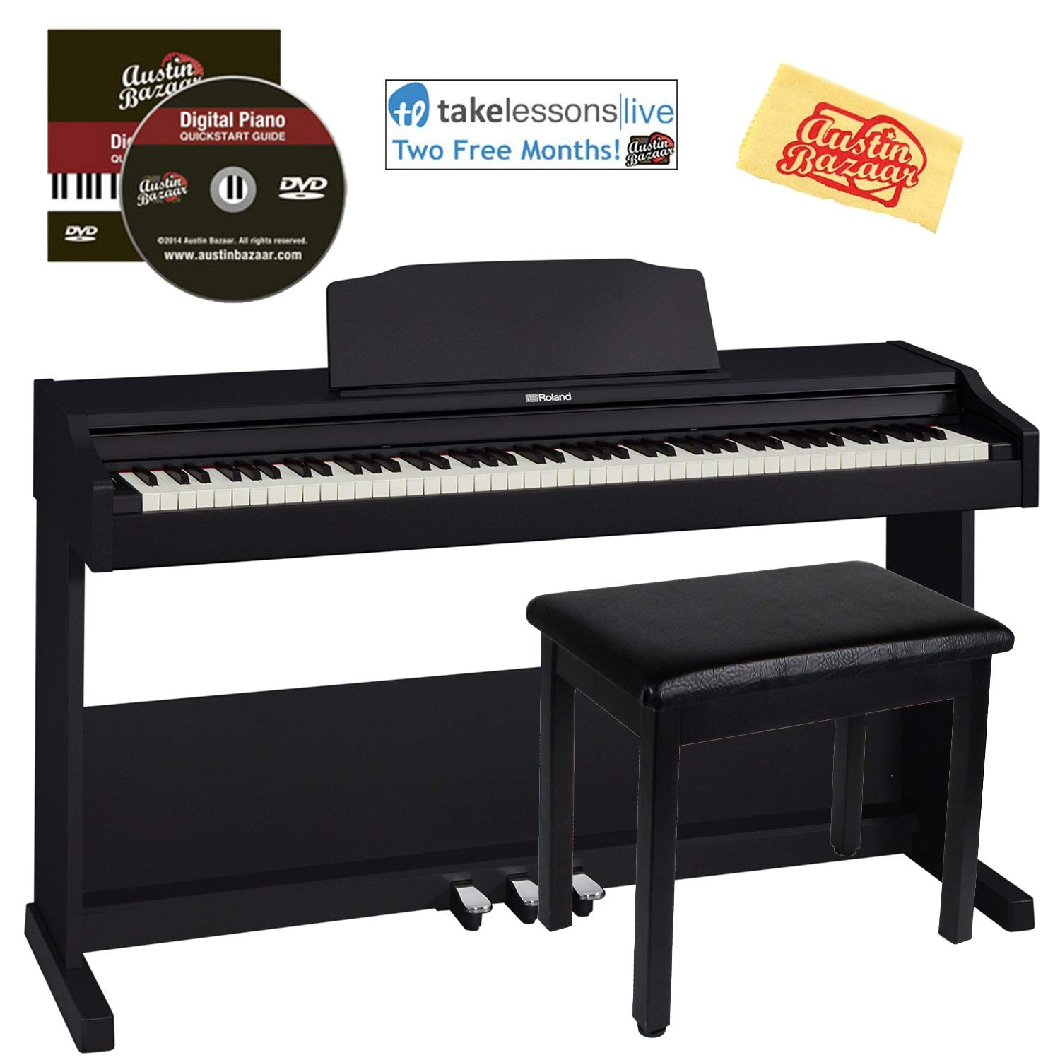Roland RP102 Digital Piano Bundle with Furniture Bench, Online Lessons, Austin Bazaar Instructional DVD, and Polishing Cloth by Roland