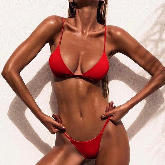 2258babecc Amazon.com  Highpot Women s Sexy Plain High Leg Triangle Bralette Bikini  Two Pieces Swimsuit  Clothing