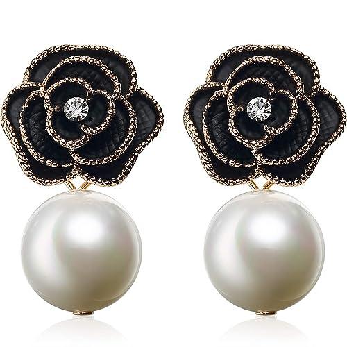 596356cf0 MISASHA Designer Imitation Pearl Camellia Charm Dangle Earrings For Women  (Black)