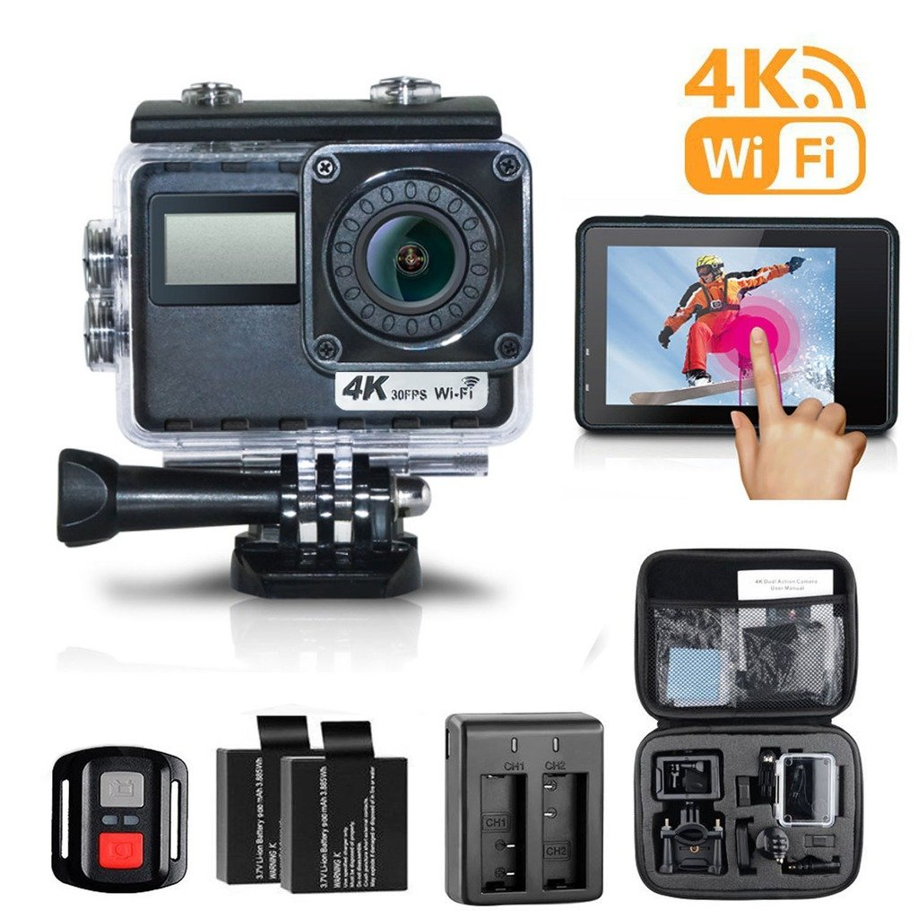 Escytegr Action Camera 4K WiFi Waterproof Cam Sony Sensor Touch Screen Sports Camera with Remote Control,2 Batteries and Charger,Mounting Accessories Kit Plus Free Travel Bag