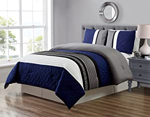 GrandLinen 3 Piece Navy Blue/Grey/Black/White Scroll Embroidery Bed in A Bag Down Alternative Comforter Set (Double) Full Size Bedding. Perfect for Any Bed Room or Guest Room