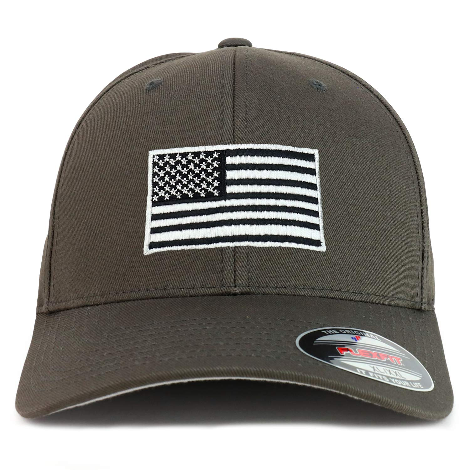 Armycrew USA American Flag Embroidered Flexfit Cap Fits Up to XXL