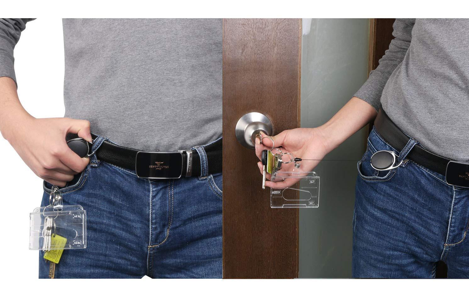 Schl/üsselanh/änger Set Vicloon Schl/üsselring Retractable Badge Reel mit Belt Clip mit ID Card Holder Abzeichen Buddy Kit f/ür Schl/üsselanh/änger und ID Card 1 PCS