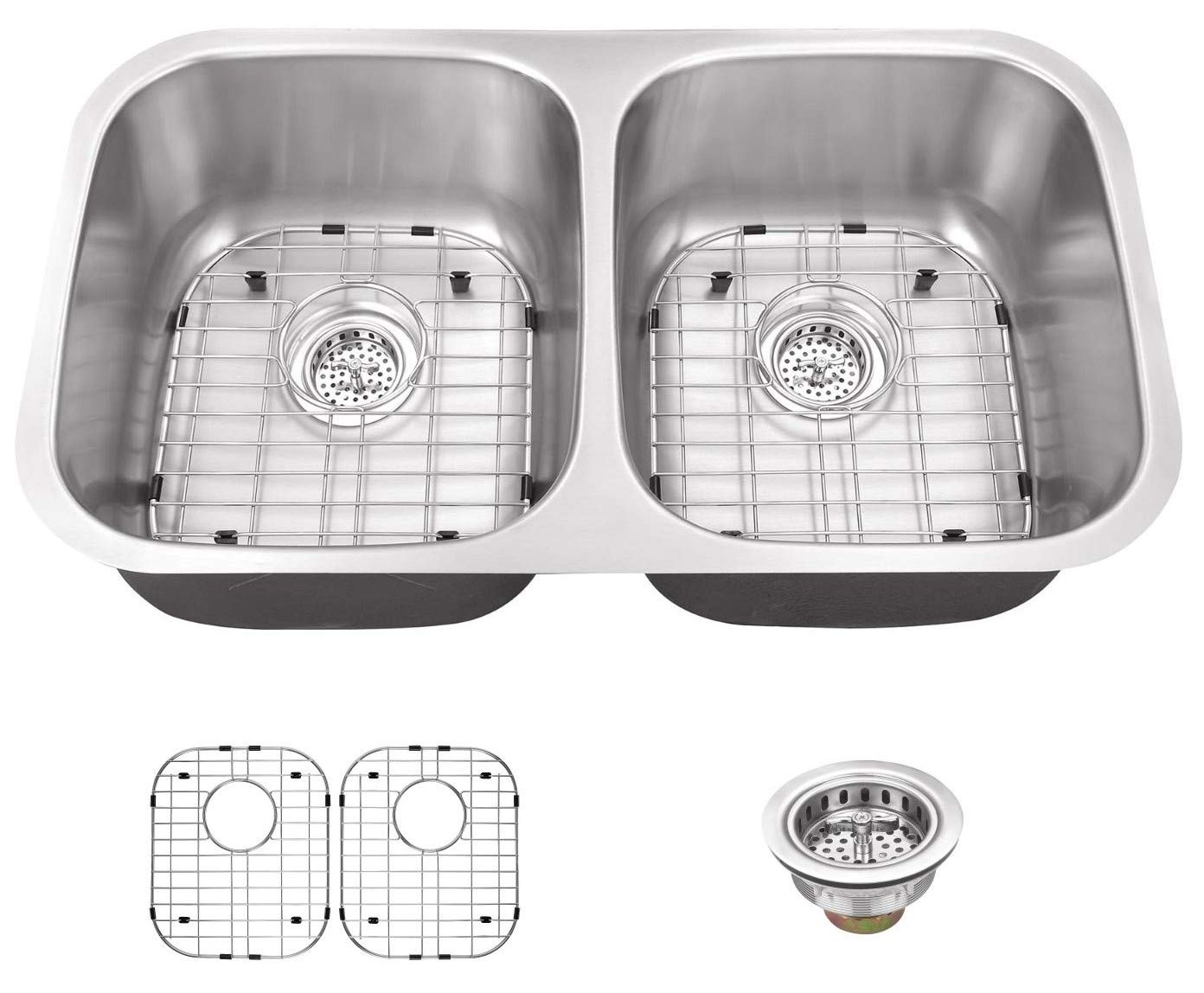 Miseno MSS2918C 29-1 8 Undermount Double Basin Stainless Steel Kitchen Sink with 50 50 Split – Drain Assemblies, Basin Racks and Maintenance Kit Included