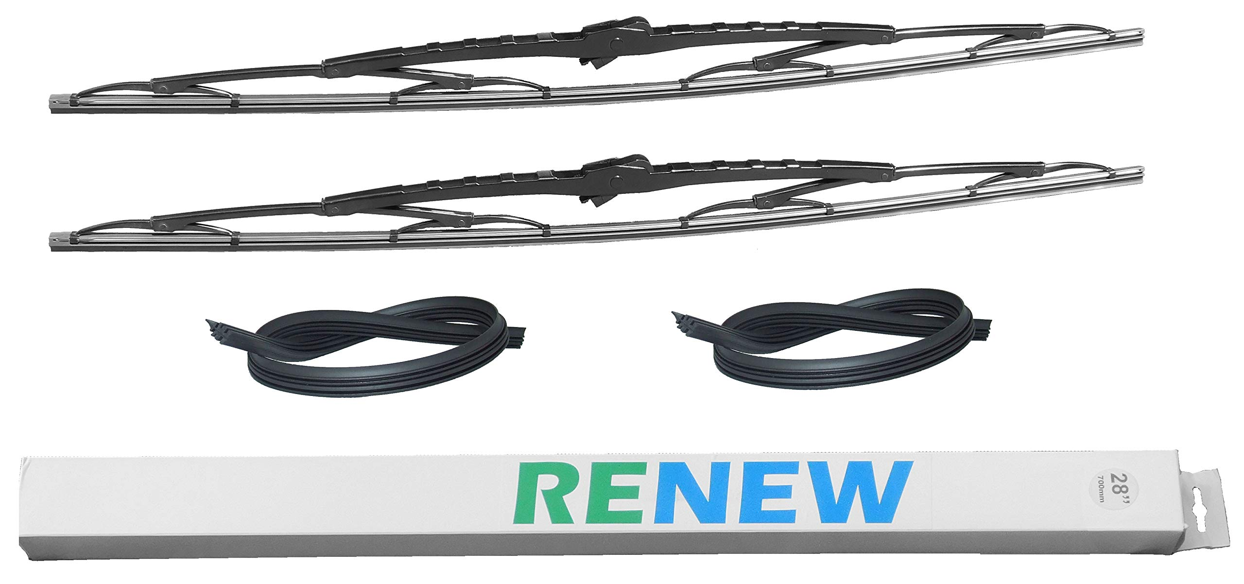 28 Inch Wiper Blade Pair for RV or Motorhome with large 12mm J Hook with 2 Rubber Refills by Renew