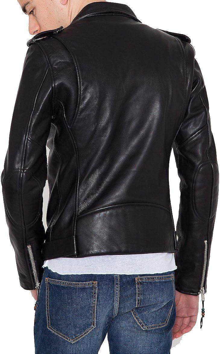 Mens Genuine Lambskin Leather Jacket Slim fit Motorcycle Jacket P177