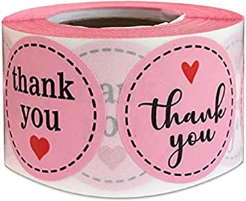 Amazon Com Pink Thank You Stickers 1 5 Inches 500 Round Thank Labels With Hearts For Birthday Baby Shower Party Thank You Cards Envelope Seals Labels Mailing Supplies Pink Round Office Products