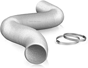 "4"" Air Duct - 25 FT Long, Aluminum Flexible Ducting with 2 Clamps, 3 Layer HVAC Ventilation Air Hose - Great For Grow Tents, Dryer Rooms, House Vent Register Lines"