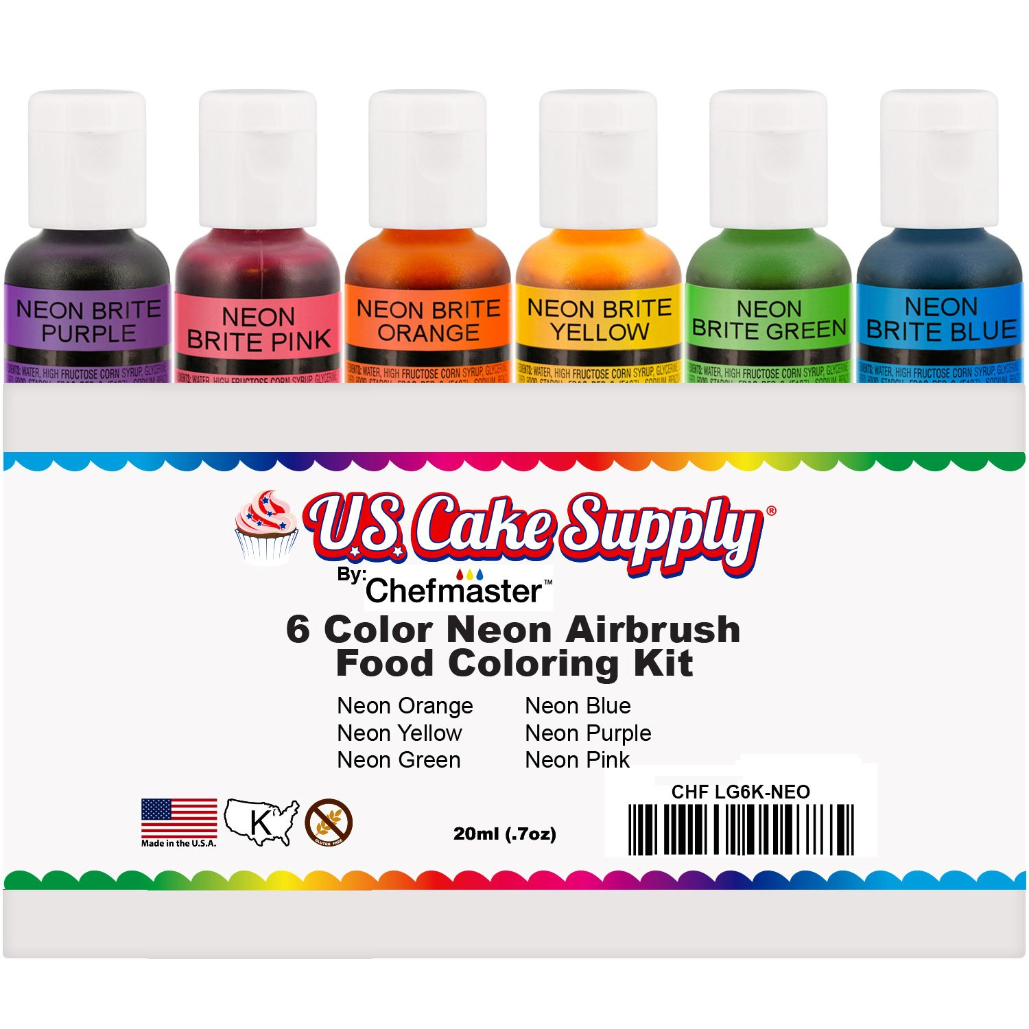 Amazon.com : 6 Color Cake Food Coloring Liqua-Gel Decorating Baking ...