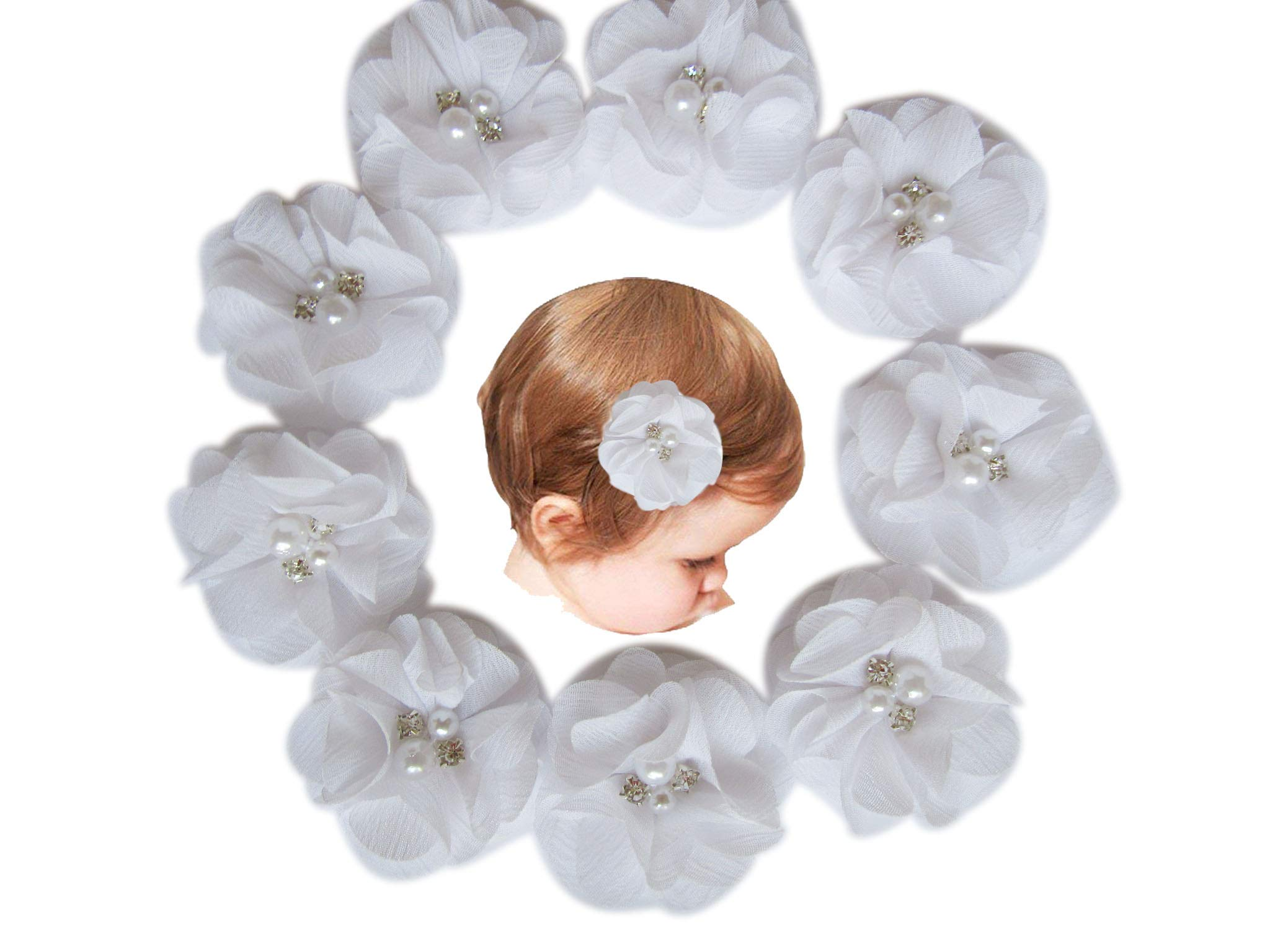 Baby Girls Chiffon Flower Hair Clips with Rhinestones and Pearl,YYCRAFT 10 pcs Party Wedding 2'' Hair Accessory for Kids Toddler Infant Girls(Snow White)