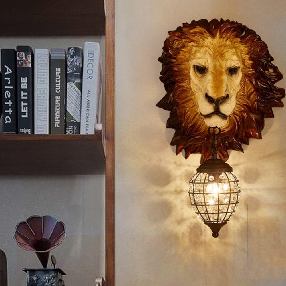 HOMEE Wall lamp- retro loft industrial wind creative imitation animal resin lion wall lamp hotel restaurant cafe bar aisle wall lamp --wall lighting decorations by HOMEE (Image #2)