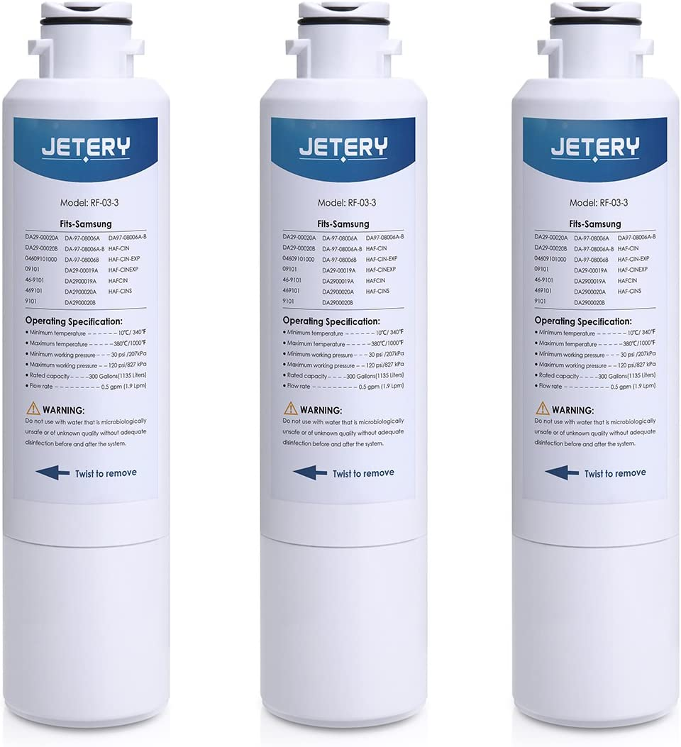 ?3 Pack? JETERY Refrigerator Water Filter Replacement for Samsung DA29-00020B DA29-00020A, HAF-CIN/EXP, 46-9101 DA29-00019A