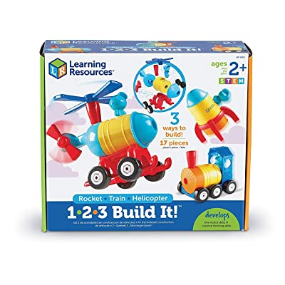 Learning Resources 1-2-3 Build It! Rocket-Train-Helicopter, Toddler Building Toy, 17 Pieces, Ages 2+: Toys & Games