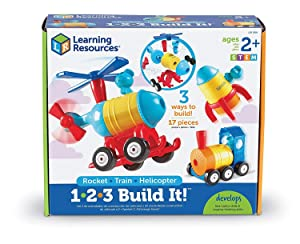 Learning Resources 1-2-3 Build It! Rocket-Train-Helicopter, Toddler Building Toy, 17 Pieces, Ages 2+