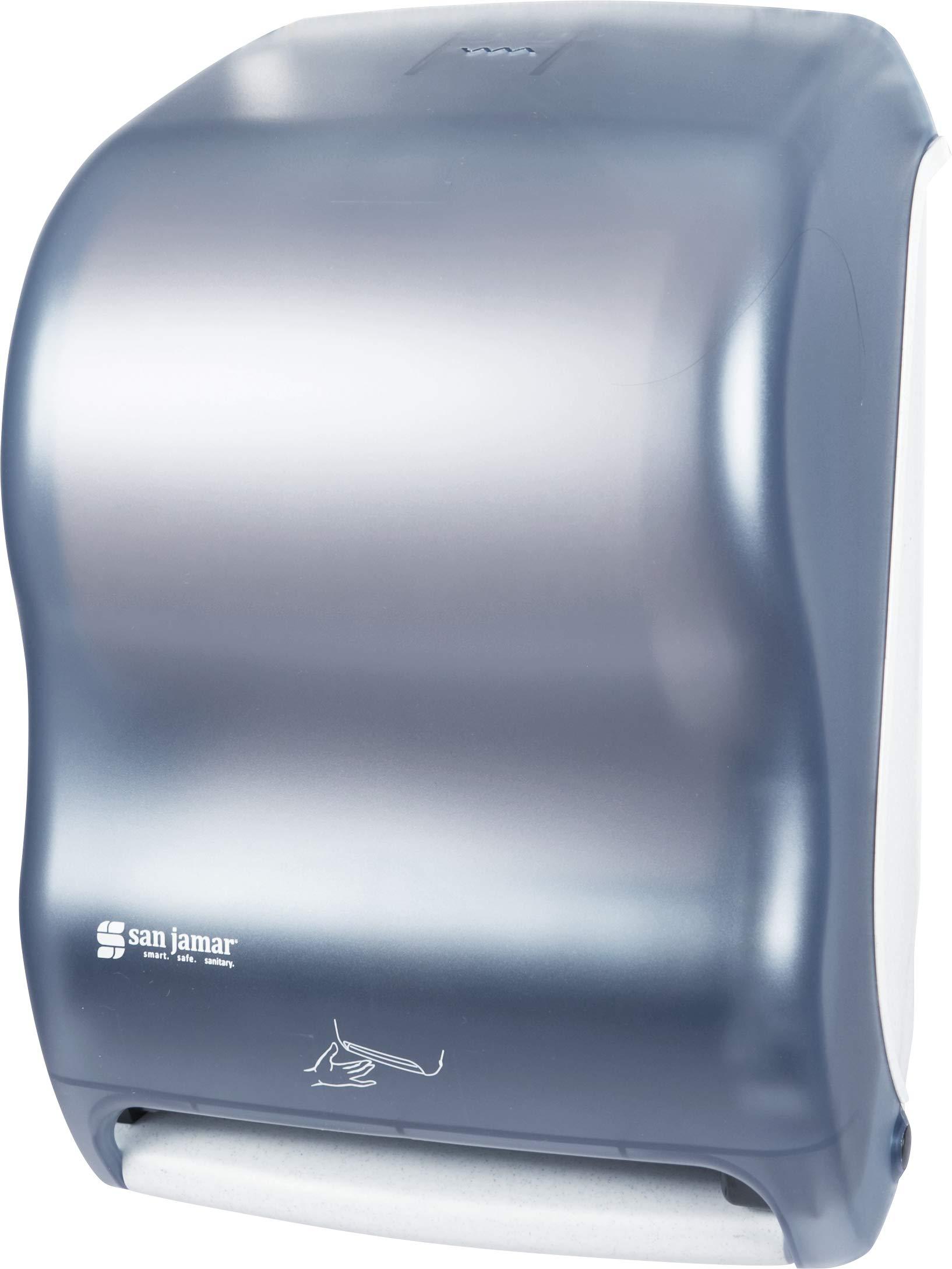 San Jamar T1400 Classic Smart System with IQ Sensor Roll Towel Dispenser, Fits 8'' Wide and 4'' Diameter Stub Roll, 12-1/2'' Width x 16-1/2'' Height x 9-1/4'' Depth, Arctic Blue