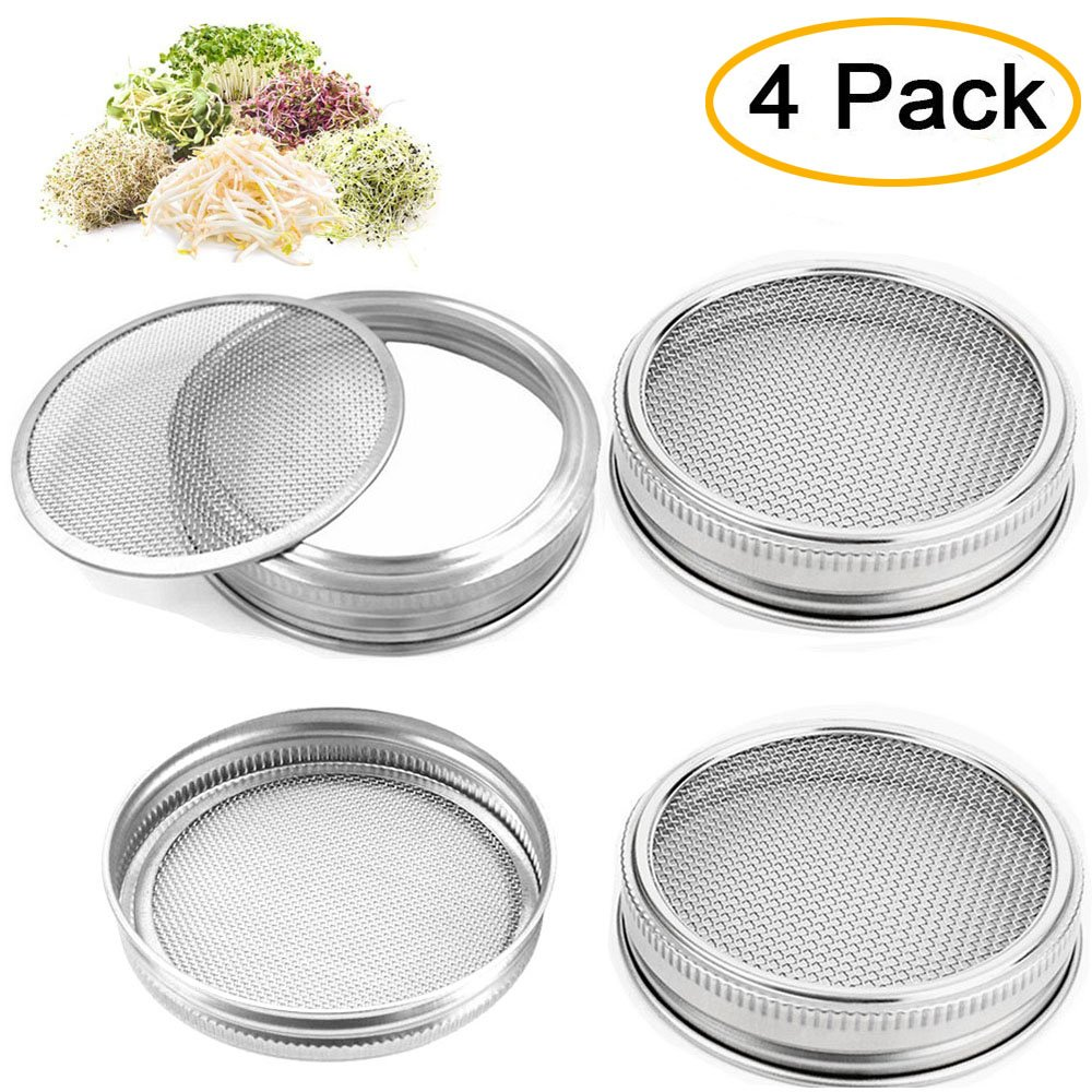 4pcs Stainless Steel Sprouting Lids for Wide Mouth Mason Jars Sprouter Screens for Growing Organic Sprouts