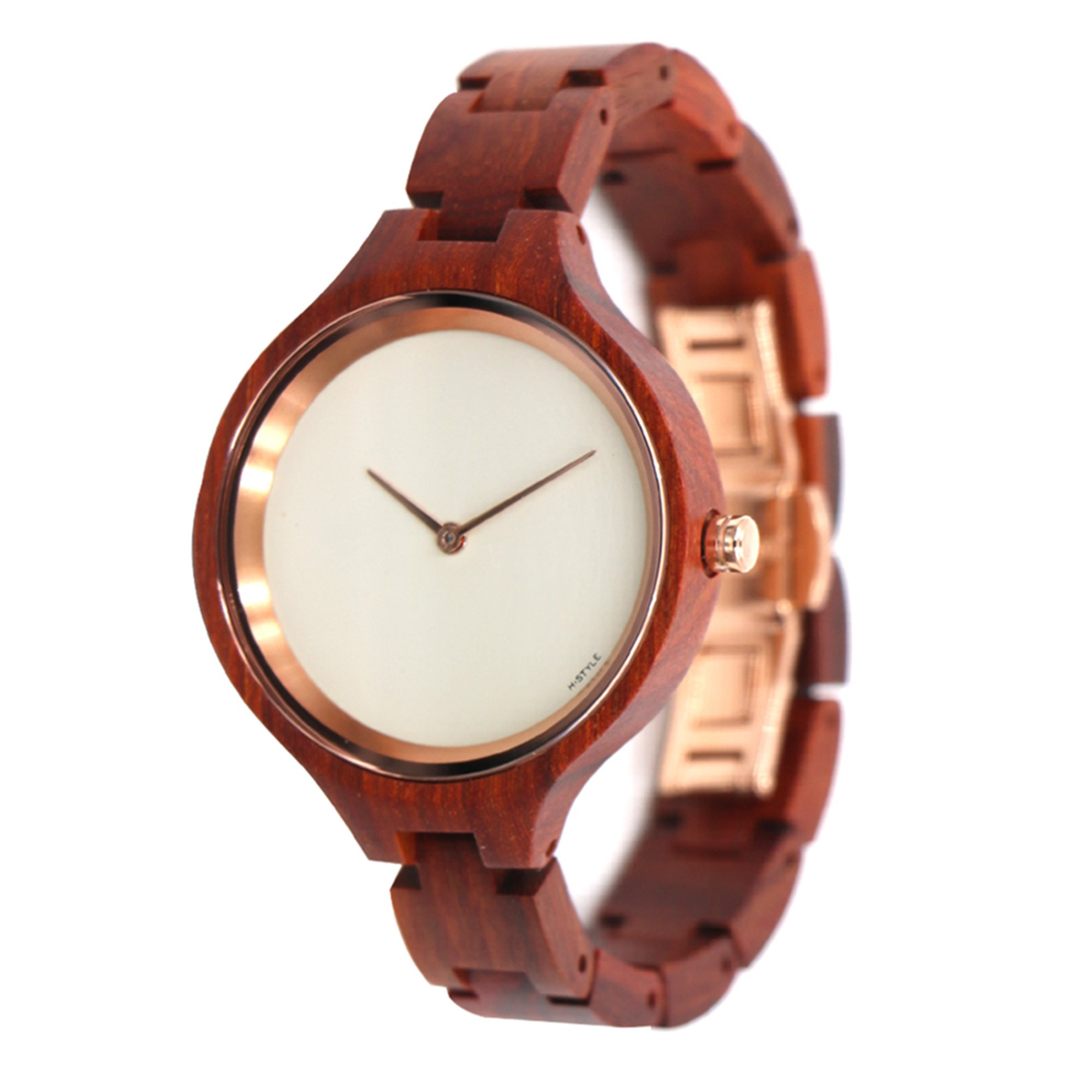 DarkCom Unique Luxury Wooden Watch For Women Swiss Quartz Movement Vintage Sapphire Glass Watches
