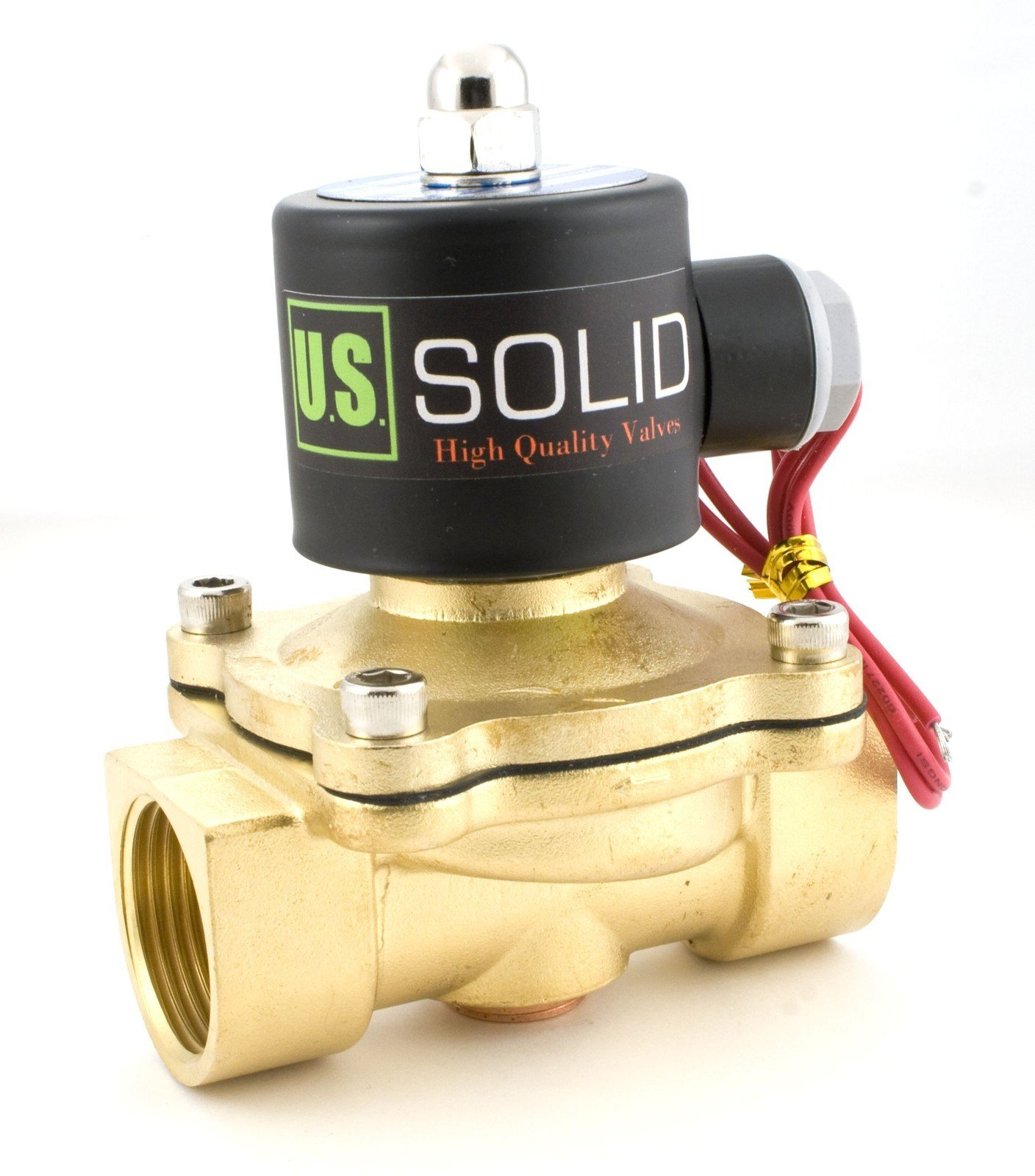 1'' Brass Electric Solenoid Valve 24VDC Normally Closed VITON Air Water Fuel by U.S. Solid