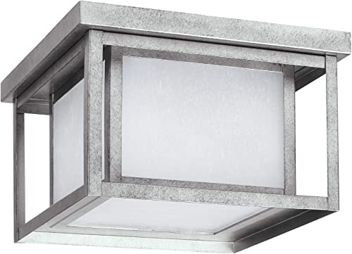 Seagull Sea Gull 7903997S-57 Craftsman Mission LED Outdoor Flush Mount from Hunnington Collection in Pwt, Nckl, B S, Slvr. Finish, 10.00 inches, One Light, Weathered Pewter