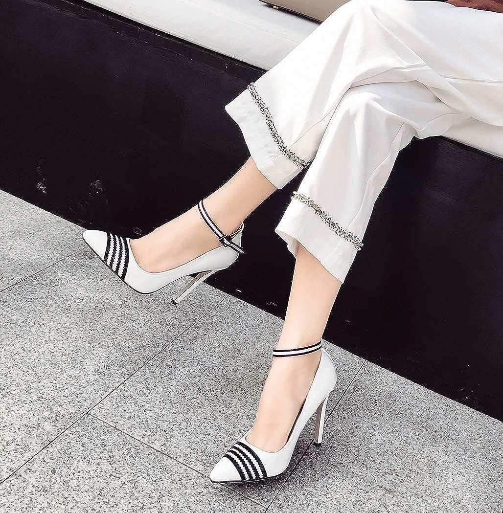 GoldGOD Damen High Heels Wies Durchbrochene Schnalle Partykleid Partykleid Partykleid Schuhe,Weiß,38 ca5297