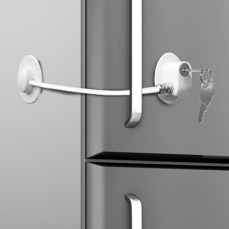 Loot Lock Refrigerator Door Lock with 2 Keys for Fridge Lock Security for Child Safety, Clear Cabinet Lock, Dorm Fridge Lock, Compact Freezer Lock (White)