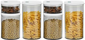 ComSaf Airtight Food Storage Container with Lid(10oz/30oz/44oz) Set of 6, Round Airtight Canisters, BPA Free Clear Plastic Food Storage Canister, Kitchen Pantry Container for Sugar, Flour and Cereal