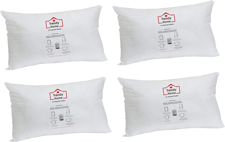Trendy Home 12x18 Premium Hypoallergenic Stuffer Home Office Decorative Throw Pillow Insert, Standard/White 12x18(4pack)