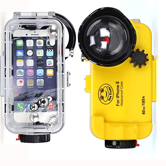 huge selection of b23cb 3e685 BECROWMUS Compatible iPhone 8 Underwater Housing Professional [60m/195ft]  Diving Case Wide Angle for Diving Surfing Swimming Snorkeling Photo Video  ...