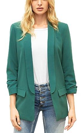 35d866269a Zevrez Women s Work Jacket 3 4 Ruched Sleeve Open Front Casual Office  Blazer(Emerald