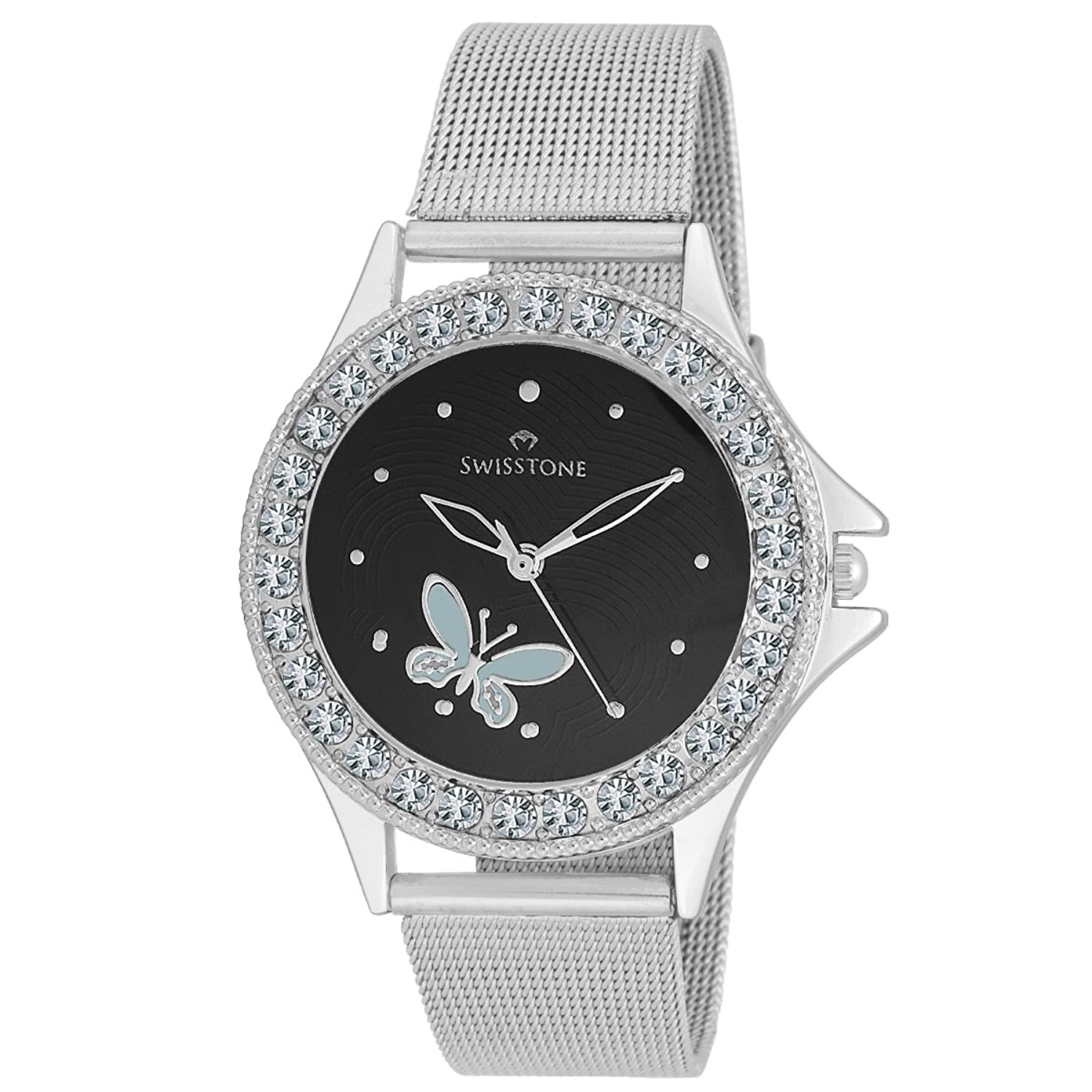 Swisstone Analogue Black Dial Girl's and Women's Watch - VOGLR501-BLK-CH
