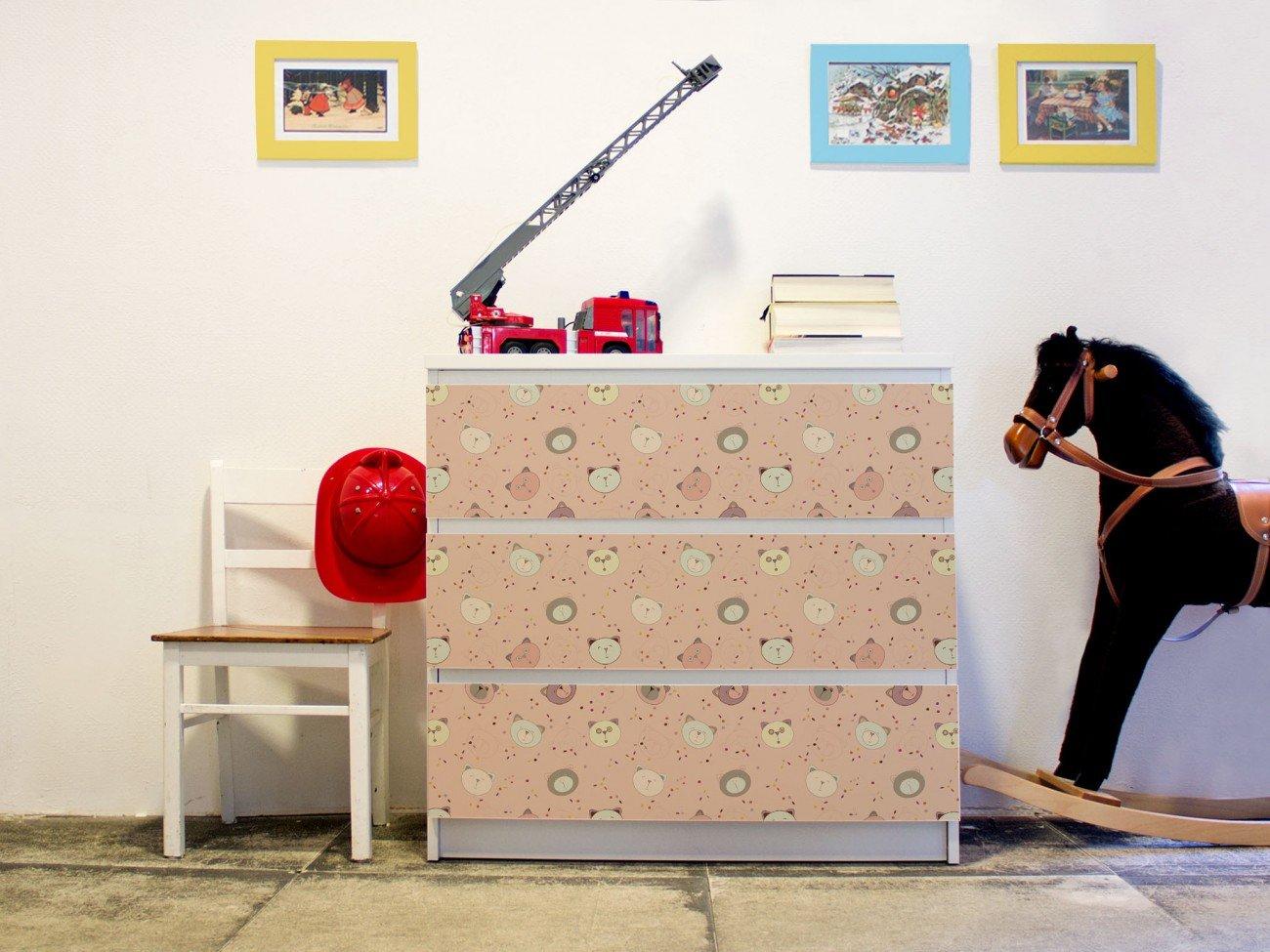 M/öbelaufkleber 3-teilig ca 80x78cm banjado YOURDEA M/öbelFolie f/ür IKEA Malm Kommode mit 3 Schubladen Perfekt f/ür Das Kinderzimmer M/öbelsticker Selbstklebend mit Motiv B/ärchen