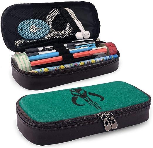 Estuche de piel con logo de Mandalorian para lápices, bolígrafos, gomas de borrar y bolsa de cosméticos escolar con cremallera: Amazon.es: Hogar