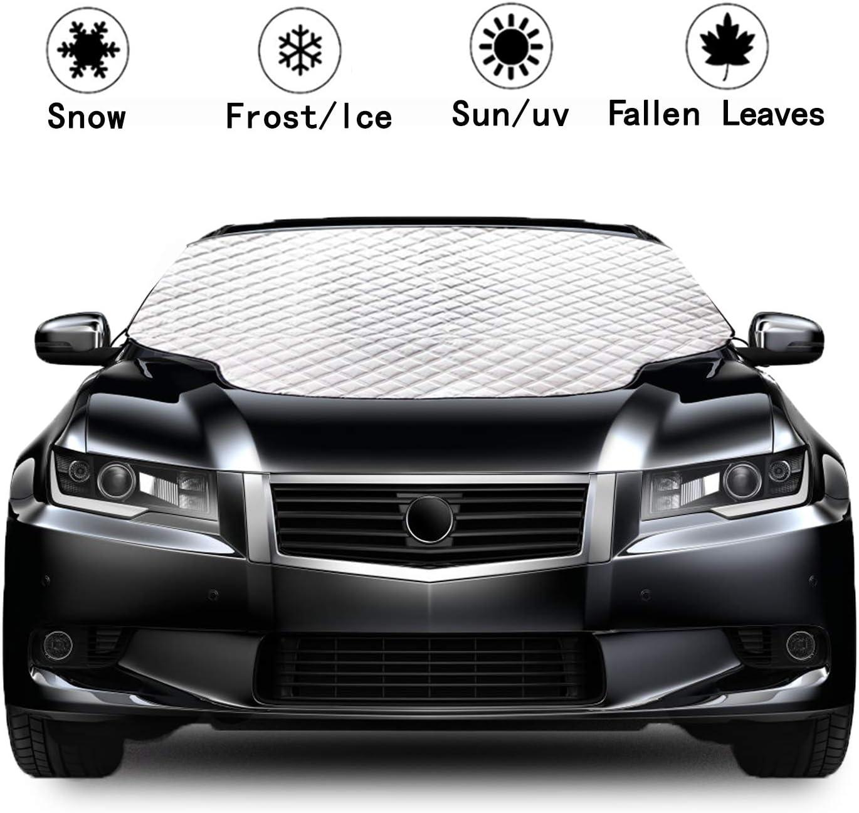 Rajvia Auto Windschutzscheibenabdeckung Frontscheibe Sonnenschutz Vereisungsschutz Schnee Staubdicht vierschichtige Autoabdeckung Sonnenlicht verhindern Fahrzeug und Sitze k/ühl halten