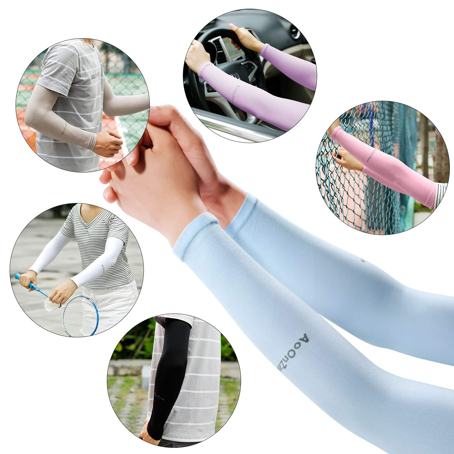 AoOnZan 6 pairs Cooling Arm Sleeves Cover UV Sun Protection Armband Basketball Golf Athletic Sport Running Compression Sleeve by AoOnZan (Image #7)