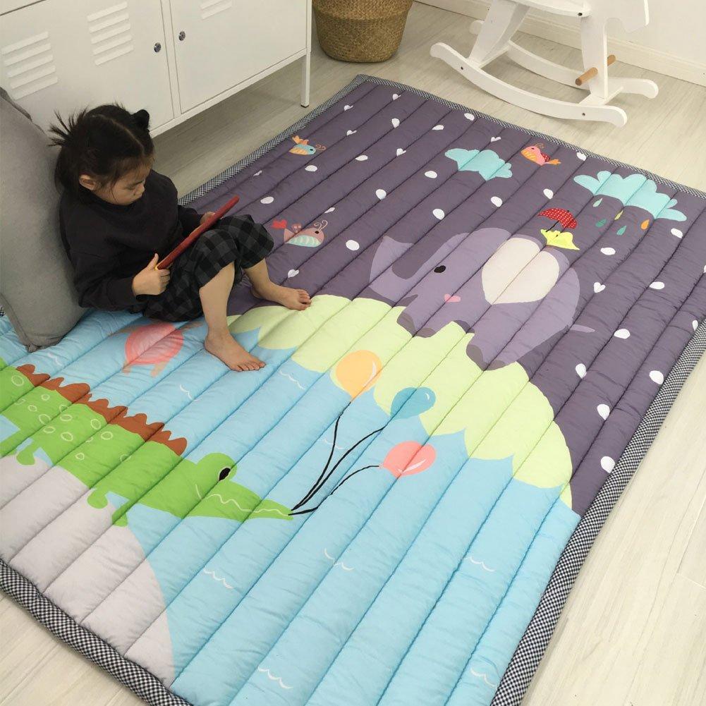 Pink Prula Kids Teepee Mat Machine Washable Children Antiskid Play Mat Non-Slip Thicken Carpet Kids Bedroom Decor