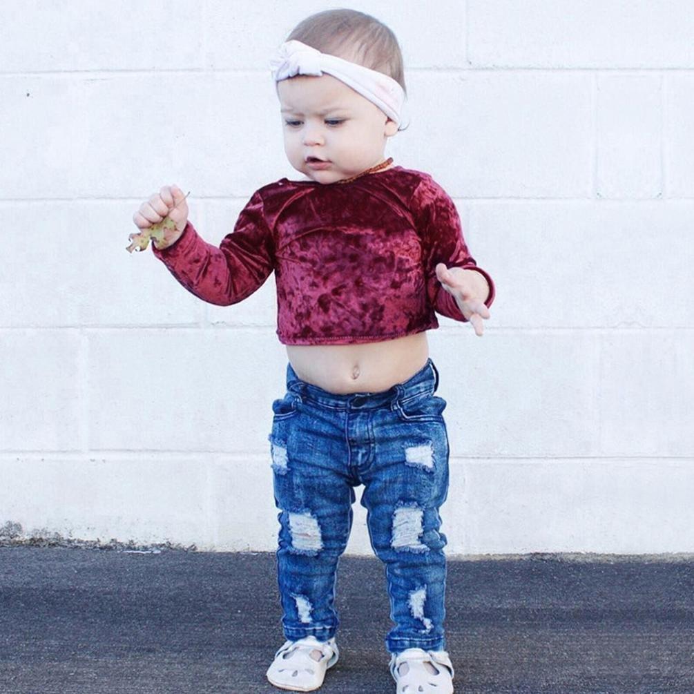 2017Newborn Infant Kids Girls Long Sleeve Solid Warm Flock T-shirt Blouse Tops TM Elevin