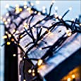 Solar String Lights,Goodia 40ft 12m 100 LED Waterproof Ambiance Lighting for Indoor,Bedroom,Patio,Lawn,Landscape,Fairy Garden,Home,Wedding,Holiday,Christmas Tree,New Year,Party (Warm White)