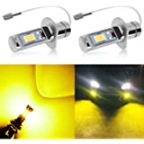 AUXLIGHT H1 LED Fog Light DRL Bulbs, 3000 Lumens Extremely Bright Bulbs Replacement for Cars, Trucks, Golden Yellow